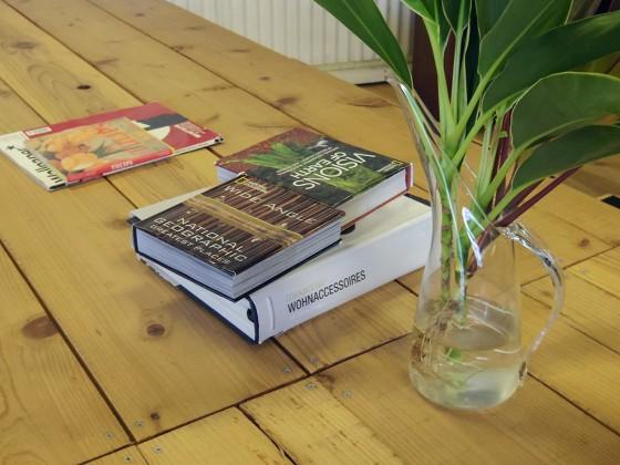 素敵なインテリア:木のテーブル、ガラス瓶に飾られたグリーン、洋書